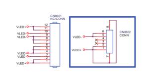 Conector de la fuente de 32 es el marcado en azul