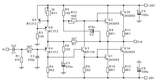 Op   Headphone  lifier Circuit likewise 7 likewise 0402 069 additionally 600w Audio  lifier Circuit With 85v as well lificador Clase 2n3055 14545. on 2n3055 amplifier schematic