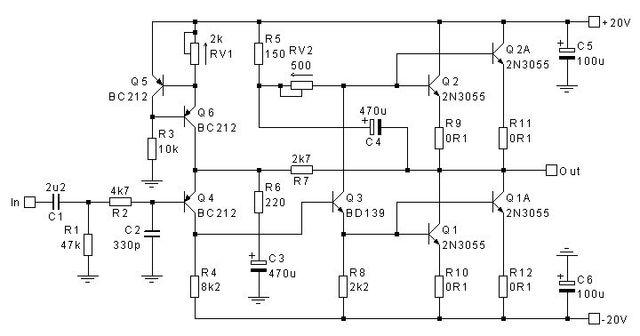 amplificador de clase a con 2n3055